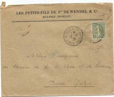 SEMEUSE 50C LIGNEE VERT N°198 PERFORE HW LETTRE F WENDEL AMBULANT AUDUN LE TICHE A THIONVILLE 13.10.1926 - Perfins
