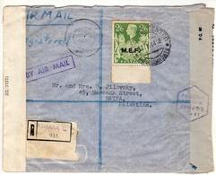 Eritrea-Palestine, 1944 WWII M.E.F / MEF Double Censored, 2/6 Shilling, High Value Registered Cover I - Eritrea