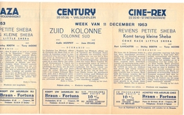 Pub Reclame Programma Ciné Cinema Bioscoop - Majestic - Plaza - Century - Rex - Gent 1953 - Cinema Advertisement