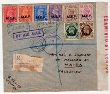 Eritrea-Palestine, 1943 WWII M.E.F / MEF Double Censored, 8 Stamps, High Value Registered Cover II - Eritrea