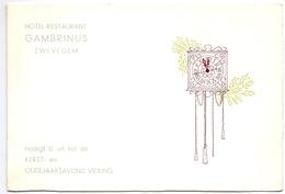Menu Kerst & Oudjaar - Pub Reclame - Hotel Restaurant Gambrinus Zwevegem 1966 - Menus