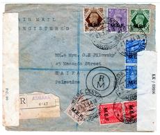 Eritrea-Palestine, 1944 WWII M.E.F / MEF Double Censored, 7 Stamps, High Value Registered Cover III - Eritrea