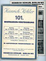 101. Köhler Auktion 1939 Mit Den Bildtafeln - Seltener Alter Auktionskatalog - Catalogi Van Veilinghuizen