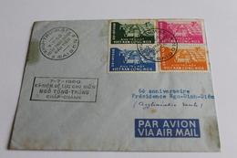 Enveloppe  1960 VIET NAM CONG HOA  6 E Anniversaire Presidence NGO DINH DIEM   PAR AVION - Vietnam