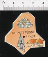 Magnet Le Gaulois Carte Géographique Département Haute-Vienne Porcelaine De Limoges Horloge Gare Couture  01-mag2 - Magnets