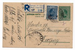 1930 YUGOSLAVIA, SERBIA, SIVAC TO BELGRADE, ADDITIONAL STAMP, REGISTERED, POSTAL STATIONARY, USED - Postal Stationery
