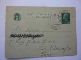 """Biglietto Postale Viaggiato  """"Soldato - 7° Regg. Fanteria 2 Compagnia PORTO VALTRAGLIA ( Varese )"""" 1942 - 1900-44 Vittorio Emanuele III"""
