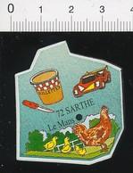 Magnet Le Gaulois Carte Géographique Département Sarthe Rillettes Circuit Automobile Le Mans Poulet De Loué  01-mag2 - Magnets