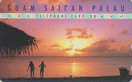 Télécarte Japon / 110-016 - Série 1/4 - Site GUAM SAIPAN PALAU - Fille Girl & Sunset USA Rel. Japan Phonecard - 64 - Landschappen