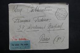 MOZAMBIQUE - Enveloppe Par Avion Pour Paris En 1937 , étiquette De Taxe Perçue Aérienne -  L 31666 - Mozambique