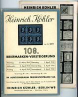 108. Köhler Auktion 1941 Mit Den Bildtafeln - Seltener Alter Auktionskatalog - Catalogi Van Veilinghuizen