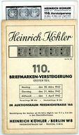 110. Köhler Auktion 1942 Mit Den Bildtafeln - Seltener Alter Auktionskatalog - Catalogi Van Veilinghuizen