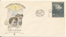 Argentina FDC 14-4-1956 Fight Again Child Paralysis With Cachet - FDC