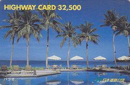 Carte Prépayée Japon - Paysage Océanie - PALAU - Plage Palmiers - Beach & Palm Tree Japan Prepaid Card - HW 68 - Landschappen