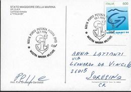 ANNULLO SPECIALE - PORTO POTENZA (MC) - 10.07.1994 - MOSTRA MARINA MILITARE - SU CARTOLINA  MARINA - Militaria