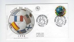 Enveloppe 1er Jour Coupe Du Monde De Football 1998 Oblitération Du 28/02/1998 Marseille - 1990-1999