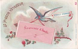 CPA  Le Pigeon Voyageur - Souvenir D'Amitié - Médaille D'honneur - Oiseaux
