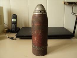 Rare Obus D'artillerie De Montagne Suisse 1907,inerte,75mm (plus Court Que Le Modele De Campagne) - Armi Da Collezione
