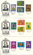 Sierra Leone Sir Milton Margai & Sir Winston Churchill FDC 19-5-1965 Complete Set Of 11 Overprinted FLOWERS On 3 Covers - Sierra Leone (1961-...)