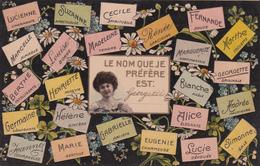 """CPA  Prénoms - """"Le Nom Que Je Préfère Est:..."""" - Carte Repoussée - 1908 - Prénoms"""