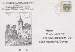 PU 117/198  10. Sonderganzsache 2985 - Briefmarkensammler-Verein Kempten (Allgäu) Gegr. 1908 E.V. Kempten,Allgäu - BRD
