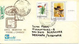 Argentina Uprated FDC Exhibition Argentina 85 With Cachet And Sent To Denmark - FDC
