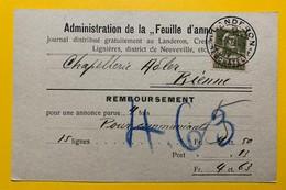 22105 - Landeron Administration Feuille D'annonces Pour  Chapellerie Adler Bienne 1919 Remboursement - BE Berne