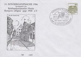PU 117/249  11. Soderganzsache 1986 - Briefmarkensammler-Verein Kempten (Allgäu) Gegr. 1908 E.V. Kempten,Allgäu 1 - BRD