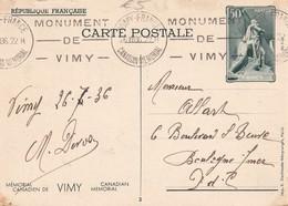 FRANCE 1936  ENTIER POSTAL/GANZSACHE/POSTAL STATIONERY CARTE DE VIMY - Entiers Postaux