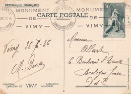 FRANCE 1936  ENTIER POSTAL/GANZSACHE/POSTAL STATIONERY CARTE DE VIMY - Postal Stamped Stationery