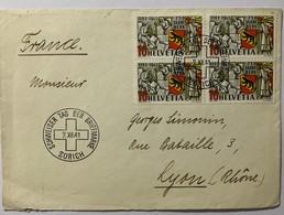8656- Schweizer Tag Der Briefmarke Zurich 1941 Circulée Pour Lyon - Covers & Documents
