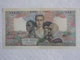 Billet Banque De France 5000 Francs Empire Français La Paix 6/9/1945 Série G.1093 N°027306894..! - 1871-1952 Anciens Francs Circulés Au XXème