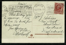 "Ref 1302 - 1914 Italy Postcard Super Slogan ""XI Esposizione D'Arte Venezia"" To New Zealand - 1900-44 Vittorio Emanuele III"