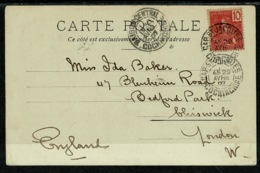 Ref 1302 - 1907 Postcard - Saigon - Pont Des Messageries Maritimes - Cochin China To London - Vietnam