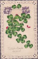 """CPA Dentelée  - Trèfles à 4 Feuilles - """"Modeste Offrande Du Coeur"""" - 1911 - Fleurs, Plantes & Arbres"""