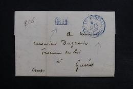 FRANCE - Lettre De Paris En PP Pour Gueret En 1836 , Cachets En Bleu - L 31714 - 1801-1848: Précurseurs XIX