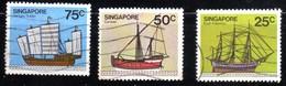 Singapour 1980 Bateaux / Ship / Boat/  3 Pieces 25c 50c 75c  N° 347 349 350 - Singapur (1959-...)