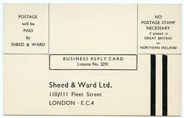 ADVERTISING : SHEED & WARD, FLEET STREET, LONDON - BUSINESS REPLY CARD (PUBLISHING) - Advertising