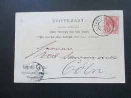 Niederlande 1900 Postkarte Hoogendijk Heringsschiff Reederei Vlaardingen Nach Cöln / Köln Gesendet - Brieven En Documenten