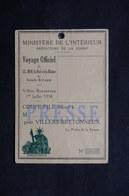 FRANCE - Carte De Presse Pour Le Voyage Du Roi Et De La Reine D 'Angleterre En 1938 - L 31722 - Vieux Papiers