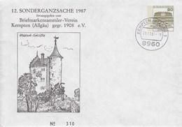 PU 117/302  12. Sonderganzsache 1987 - Briefmarkensammler-Verein Kempten (Allgäu) Gegr. 1908 E.V., Kempten Allgäu 1 - BRD