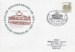 PU 117/303  Kieler Umschlag 1987 - Kieler Strassenbahn Um 1957, Kiel 1 - BRD
