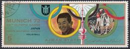 Ajman 1972 Mi. 1575 XX° Olympic Games Munich Monaco Winners Oro Gold Pallavolo Volleyball Japan Giappone CTO - Pallavolo
