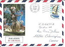 Polynésie Française Avec Cachet  Bureau Postal Militaire 1990 - Poste Aérienne