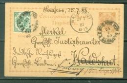 Bosnie Herzégovine   Entier Postal / Ganzsache  Sarajevo Pour L'Allemagne Avec Complement 3 Kr Vert  Du 25 /07/1883 - Bosnie-Herzegovine