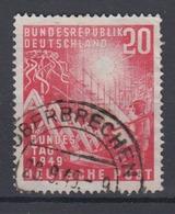 Bund 112 III Mit Plattenfehler Eröffnung Des 1. Dt. Bundestages 20 Pf Gestempelt - BRD