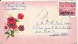 Vietnam Air Mail Cover Sent To Denmark 1977 Single Franked But The Stamp Is Damaged - Vietnam