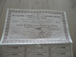 Action 500 Francs Au Porteur Cemins De Fer De Lausanne à Fribourg Et à La Frontière Bernoise Genève à Versoix 1856 - Chemin De Fer & Tramway
