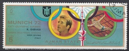 Ajman 1972 Mi. 1585 XX° Olympic Games Munich Monaco Winners Oro Gold Tuffi Piattaforma Klaus Dibiasi Italia  CTO URSS - High Diving