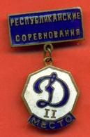 "Kazakhstan 1966.Championship Of Kazakhstan.Sports Society ""Dynamo"". Award Sign From Heavy Metal. 2rd Place. - Handball"